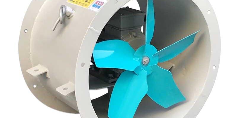 Quạt hướng trục nối ống gió thông gió hút khí nhà cao tầng, khu công nghiệp